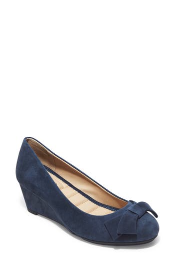 Me Too Bow Embellished Wedge- Blue