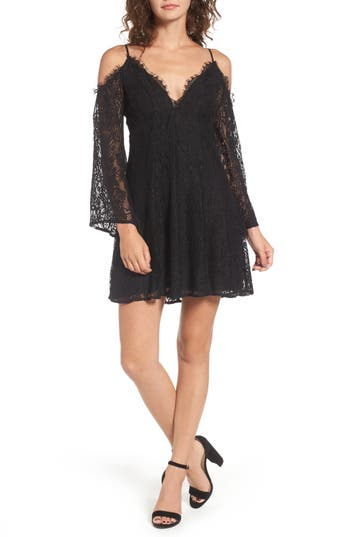 Lace Cold Shoulder Dress, Black