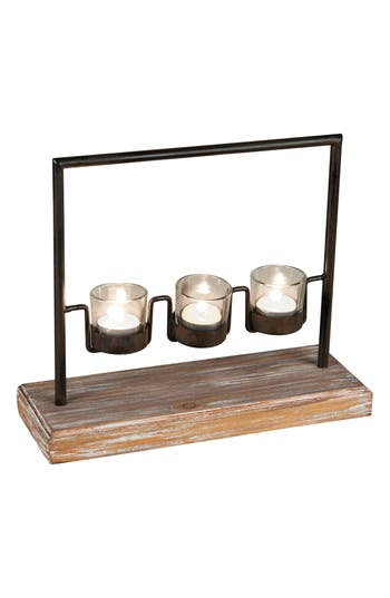 Foreside Three Tea Light Holder, Size One Size - Brown
