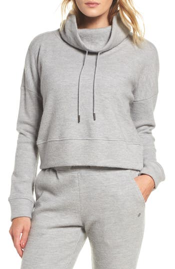 Ugg Funnel Neck Crop Merino Wool Sweatshirt, Grey