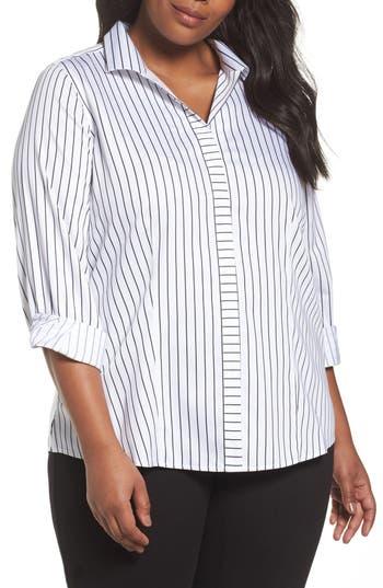 Plus Size Foxcroft Annie Holiday Stripe Shirt, White