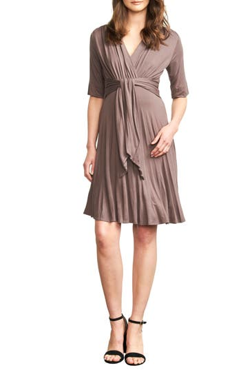 Maternal America Tie Waist Maternity Dress, Beige