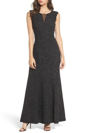 Eliza J Glitter Knit Gown, Metallic