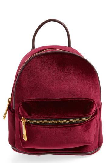 Street Level Velvet Backpack - Burgundy