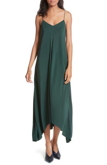 Tibi Silk Crepe De Chine Slipdress, Green