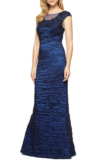 Alex Evenings Embellished Illusion Shirred Gown, Blue