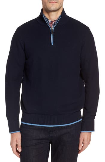 Tailorbyrd Killona Tipped Quarter Zip Sweater, Blue