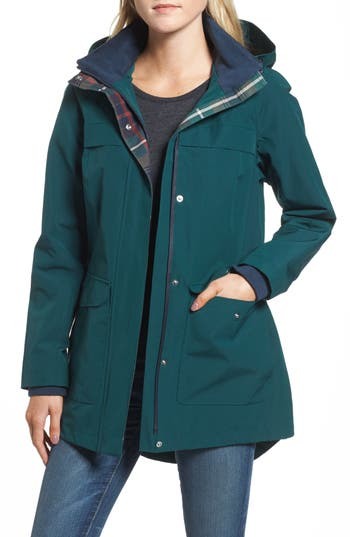 Women's Pendleton Hooded Raincoat, Size X-Small - Green