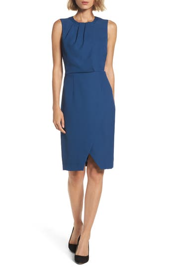 Adrianna Papell Pleated Neck Sheath Dress, Blue