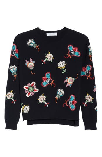 Women's Valentino Floral Embroidered Wool Sweater, Size X-Small - Black