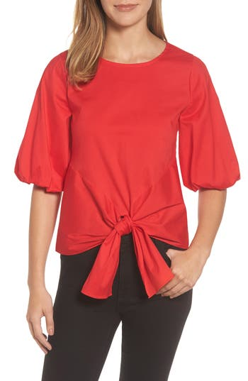 Women's Gibson Bubble Sleeve Tie Front Top, Size X-Small - Red