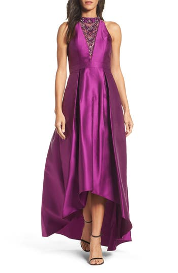Adrianna Papell Embellished Mikado High/low Gown, Purple