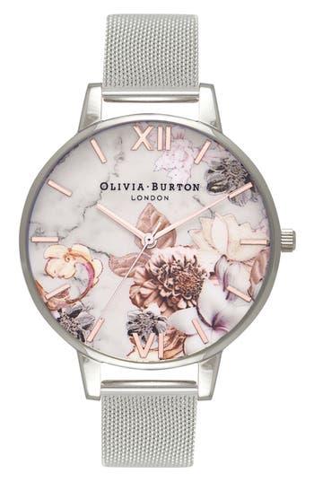 Women's Olivia Burton Marble Floral Mesh Strap Watch, 38Mm