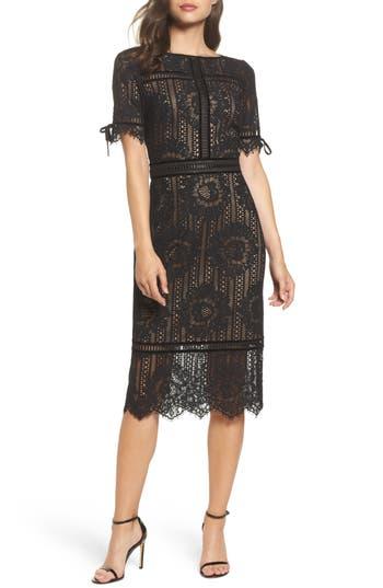 Women's Tadashi Shoji Velvet Trim Lace Sheath Dress, Size 2 - Black