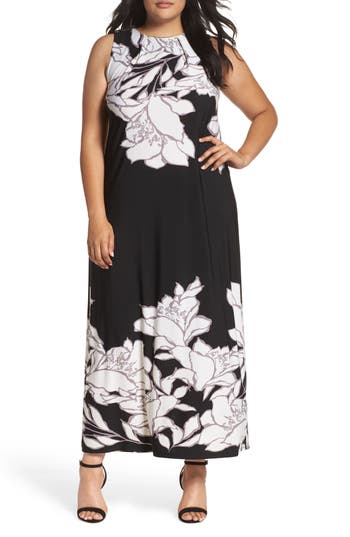 Plus Size Evans Floral Border Maxi Dress, US / 18 UK - Black