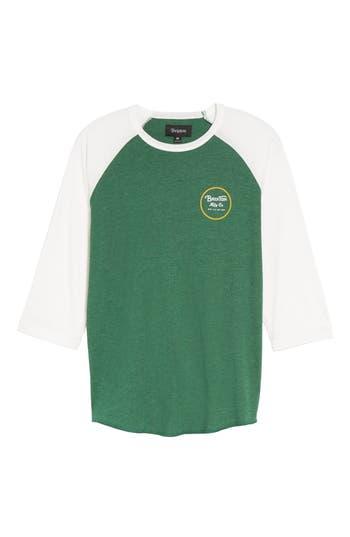 Brixton Wheeler Graphic Baseball T-Shirt, Green