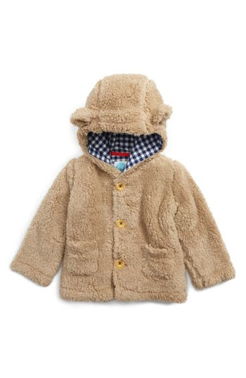 Infant Boy's Mini Boden Cozy Animal Faux Shearling Jacket, Size 3-6M - Beige