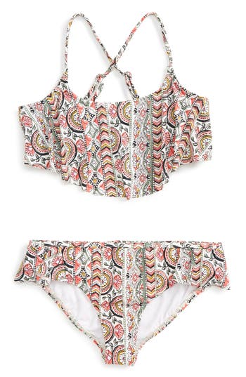 Girl's Billabong Two-Piece Ruffle Swimsuit, Size 6X - White