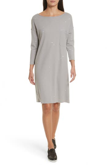 Atm Anthony Thomas Melillo Destroyed Double-Faced Jersey Dress, Grey