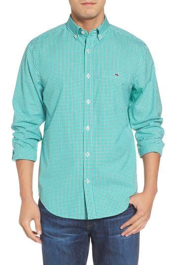 Men's Vineyard Vines Tucker Old Town Classic Fit Gingham Sport Shirt, Size Medium - Green