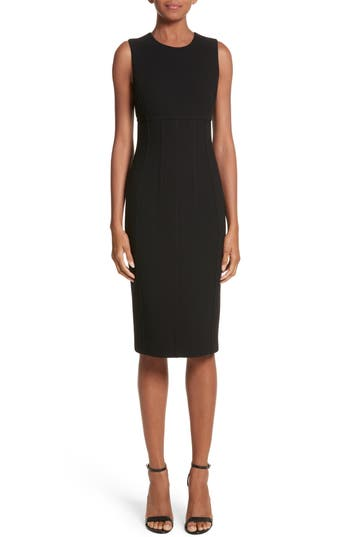 Michael Kors Stretch Boucle Crepe Sheath Dress, Black