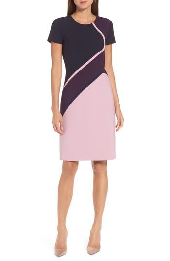 Boss Dukatia Colorblock Sheath Dress, Purple