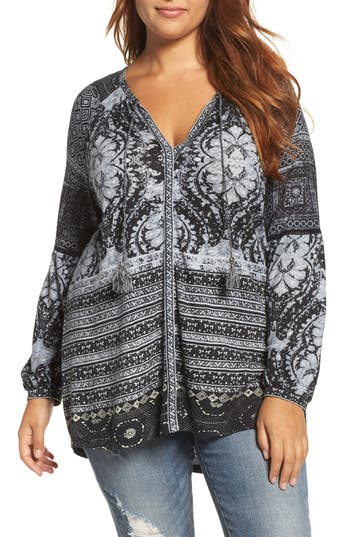 Plus Size Lucky Brand Mixed Print Top, Black