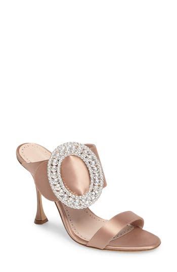 Manolo Blahnik Fibiona Crystal Embellished Mule - Beige