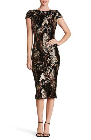 Dress The Population Marcella Sequin Body-Con Dress, Brown