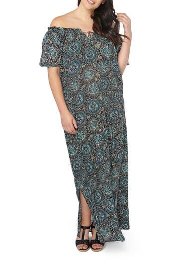 Plus Size Evans Floral Print Off The Shoulder Maxi Dress, 8W US / 22 UK - Black