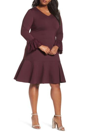 Plus Size Sejour Flounce Hem Dress, Burgundy
