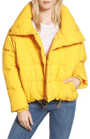 Women's Topshop Puffer Coat, Size 2 US (fits like 0) - Yellow