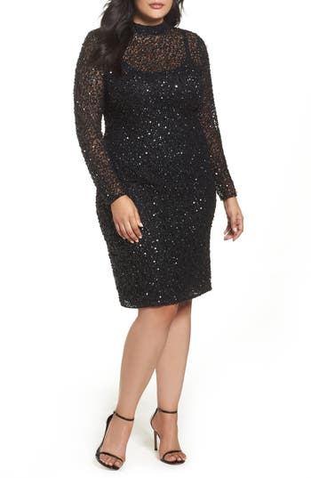 Plus Size Adrianna Papell Mock Neck Sequin Sheath Dress, Black