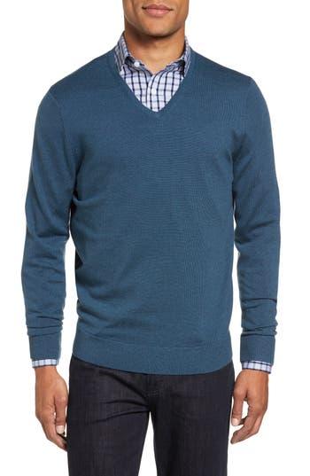 Nordstrom Shop V-Neck Merino Wool Sweater, Blue/green