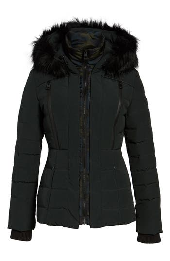 Women's Guess Quilted Hooded Puffer Coat With Faux Fur Trim at NORDSTROM.com