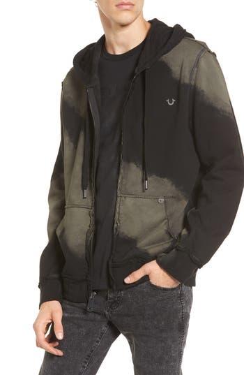 True Religion Brand Jeans Raw Edge Zip Hoodie, Black