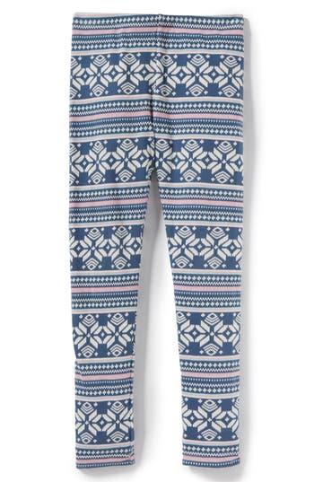 Girl's Peek Lara Fair Isle Leggings, Size S (4-5) - Blue
