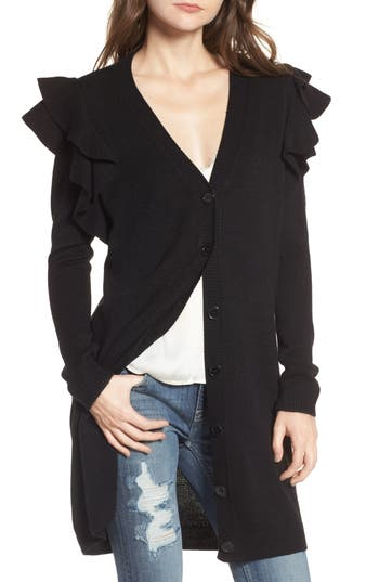 Women's Soprano Ruffle Shoulder Cardigan, Size X-Small - Black