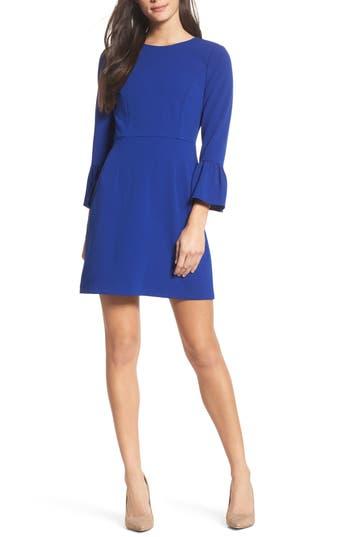 Charles Henry Ruffle Sleeve A-Line Dress, Blue