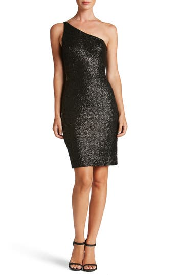 Dress The Population Cher One-Shoulder Sequin Body-Con Dress, Black