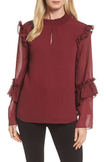 Women's Bobeau Ruffle Sleeve Blouse, Size X-Small - Burgundy