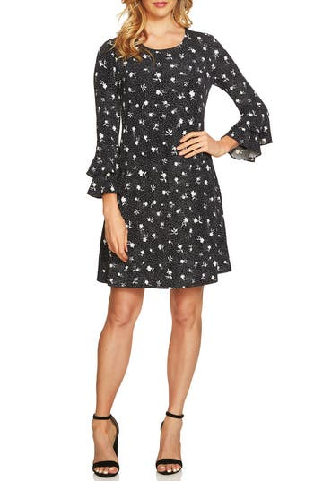 Cece Dotted Bell Sleeve Knit Dress, Black