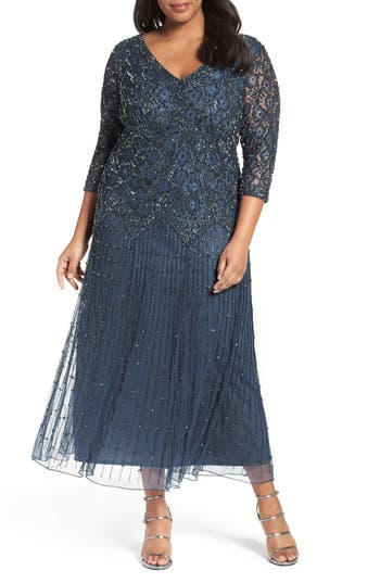 Plus Size Pisarro Nights Beaded V-Neck Lace Illusion Gown, Blue
