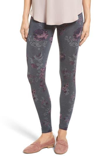 Hue Floral Seamless Leggings, Grey