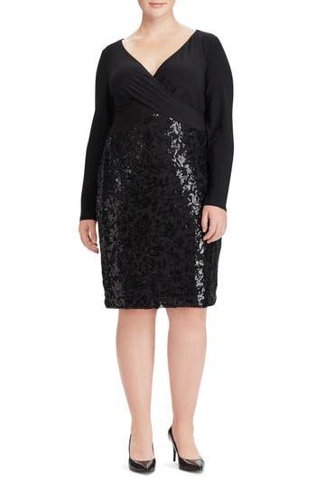 Plus Size Lauren Ralph Lauren Adelen Faux Wrap Sequin Dress, Black