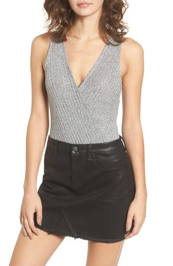 Love, Fire Rib Knit Bodysuit, Grey