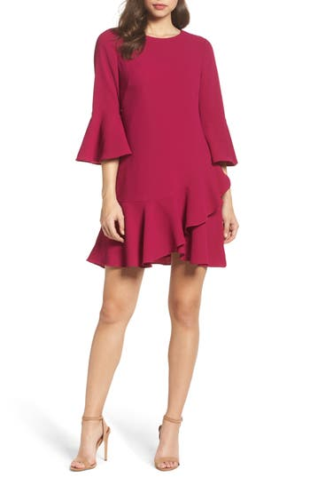 Eliza J Bell Sleeve Fit & Flare Dress, Pink