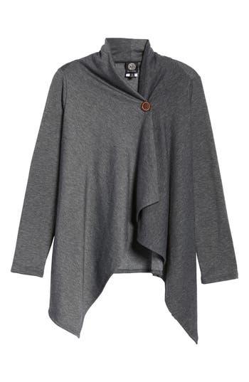 Women's Bobeau One-Button Fleece Wrap Cardigan, Size X-Large - Grey