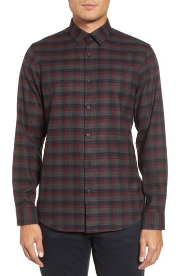 Calibrate Check Flannel Sport Shirt, Grey