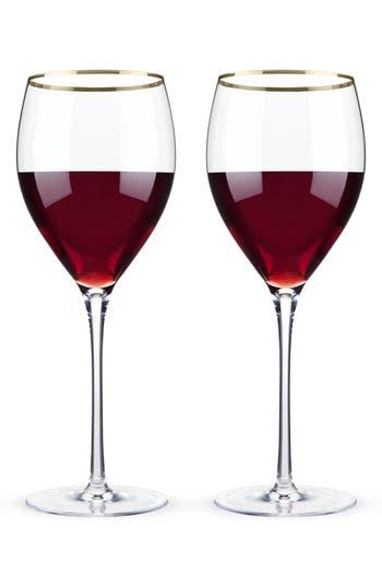 True Fabrications Viski Belmont Set Of 2 Gold Rim Wine Glasses, Size One Size - White